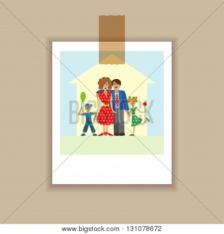 Photo four member happy stylish family posing together. Parents with kids. colorful illustration in flat design