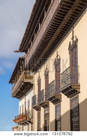 Facade of La Casa de los Balcones - historic house and a museum in La Orotava town Tenerife Canary Islands Spain