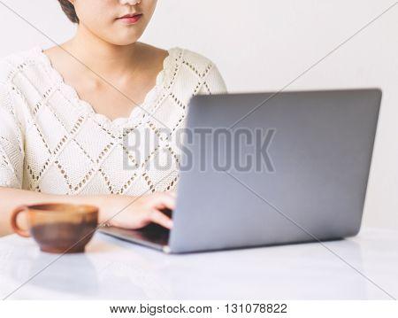 Asian Girl Laptop Communication Technology Concept