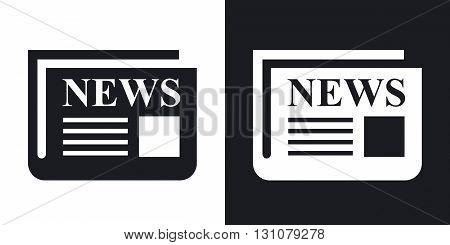 Vector newspaper icon. Two-tone version on black and white background
