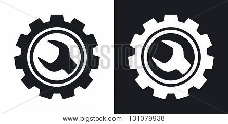 Vector service icon. Two-tone version on black and white background