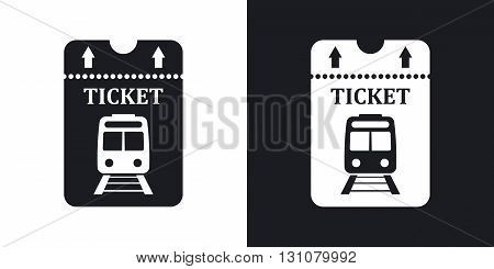 Vector train ticket icon. Two-tone version on black and white background