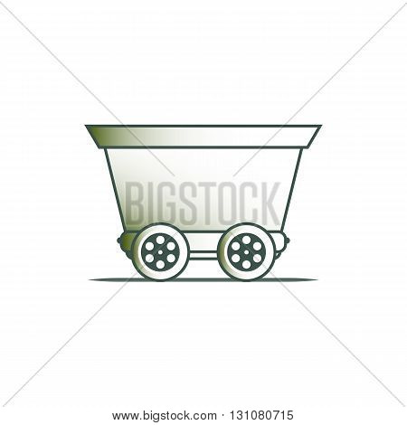 Cargo wagon on the rails vector illustration isolated on white background.