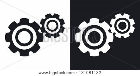 Vector gears or settings icon. Two-tone version on black and white background