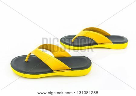 Colorful of Sandals shoes Yellow and black color flip flops on white background.