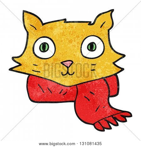 freehand textured cartoon cat wearing scarf