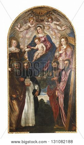 ZAGREB, CROATIA - DECEMBER 12, 2011: Jacopo Tintoretto: Madonna and Child, St. Catherine, Mary Magdalene, Peter, Dominic, Paul and Andrew exhibited at the Great Masters Renaissance in Croatia