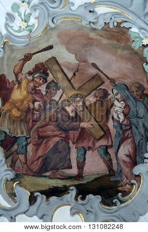 ROSENBERG, GERMANY - MAY 06: Jesus meets his mother, Way of the Cross, fresco on the ceiling of the Church of Our Lady of Sorrows in Rosenberg, Germany on May 06, 2014.