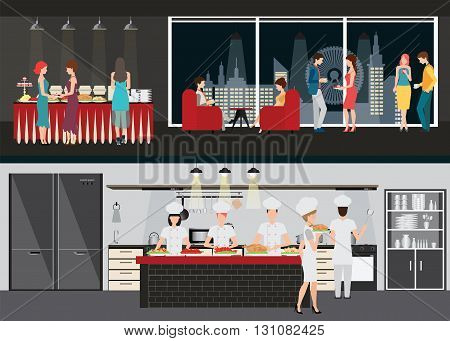 Kitchen interior with chef and Restaurant interiors dining room and table of buffet on night city view on background vector illustration in flat design.