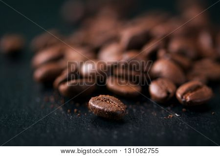 Coffee beans on a dark background background closeup horizontal selective focus