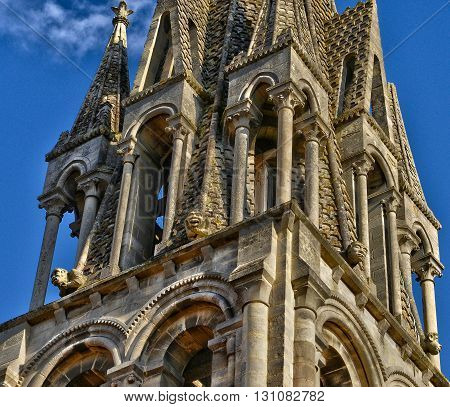 Vernouillet France - april 12 2015 : the picturesque church in spring