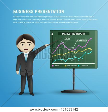 Businessman in tie and black suit makes presentation with explanation marketing report on a board. Business training.