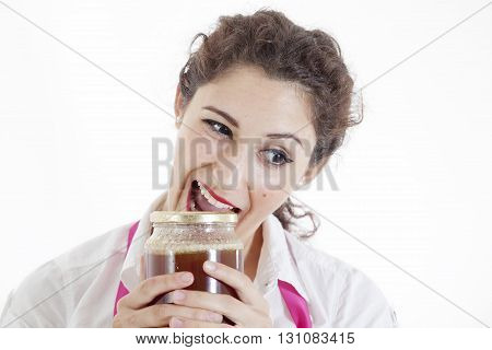 Girl Opens A Jar Of Honey With Teeth