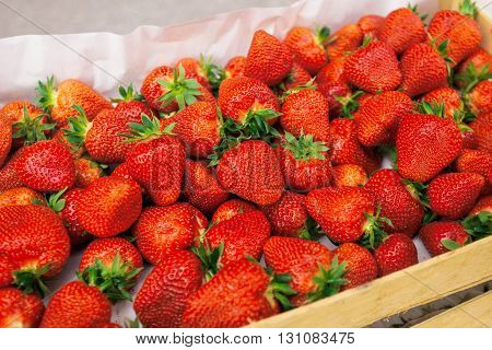 Fresh organic strawberries in crate on farmers market homegrown fruit produce selective focus