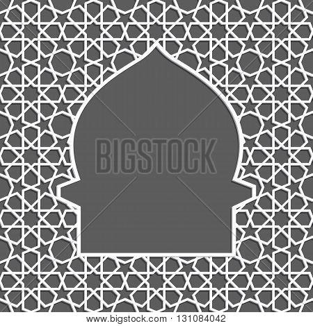 Islamic greeting card. Islamic Ramadan decoration. Mosque vector illustration.