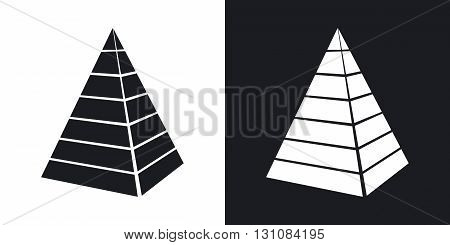 Vector layered pyramid icon. Two-tone version on black and white background