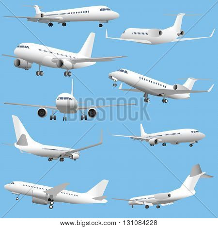 Set of simple detailed vector passenger planes and business jets. Vol. 1