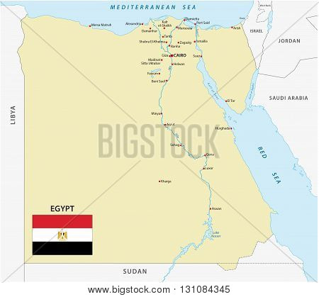 Arab Republic of Egypt map with flag