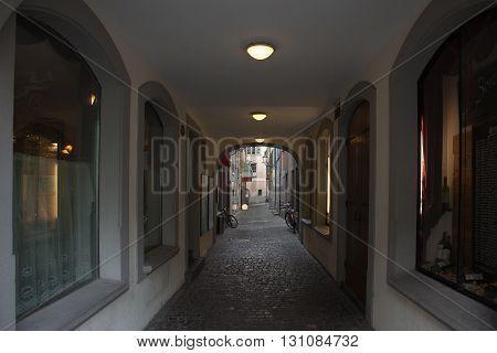 Narrow alley downtown old Luzern (Lucerne) Switzerland
