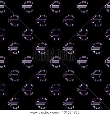 Seamless purple background with the logo of the Euro. Vector image.