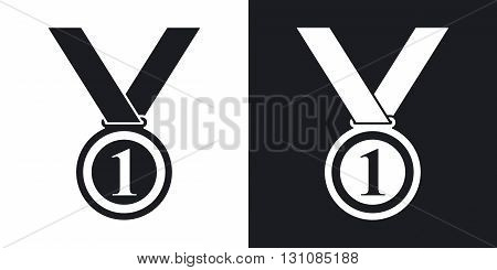 Vector medal icon. Two-tone version on black and white background