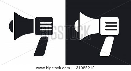 Vector megaphone icon. Two-tone version on black and white background