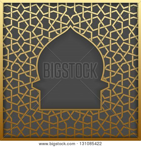 Islamic greeting card. Islamic Ramadan decoration. Islamic golden mosque vector illustration.