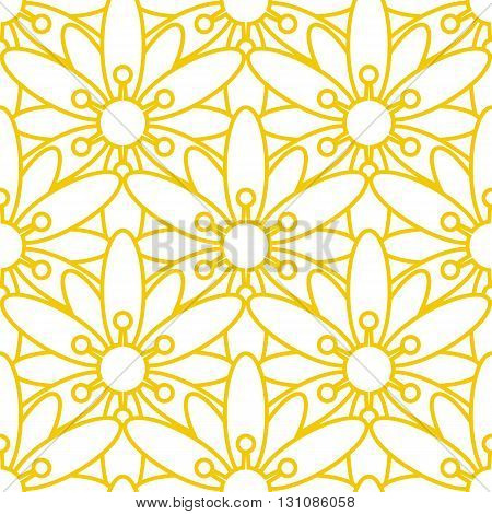 Seamless vector background with flowers with gold outline on a white background. Floral texture.