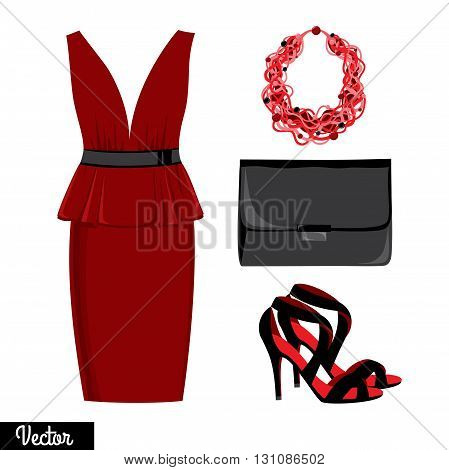 Illustration stylish and trendy clothing. Evening dress, clutch bag, accessories, high-heeled shoes, sandals. Vector.