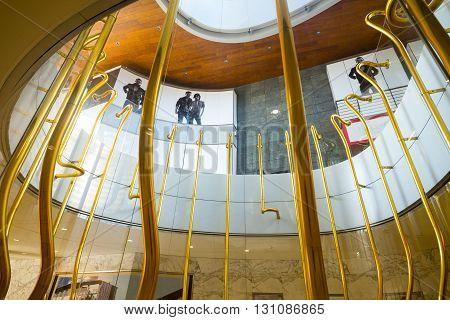 Milan Italy - January 24 2015: Porta Nuova the Golden Trumpets Installation by Garutti