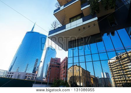 Milan Italy - January 24 2015: Porta Nuova the Bosco Verticale towers with the Unicredit tower in the background