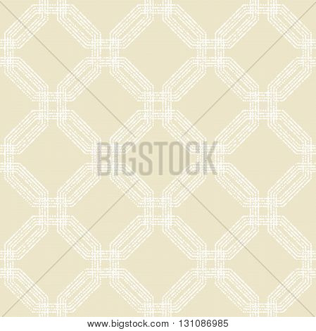 Geometric repeating ornament with white dotted octagons. Seamless abstract modern pattern
