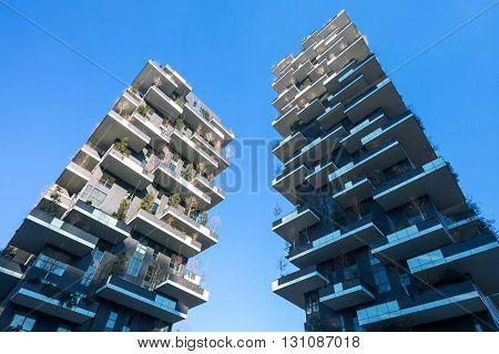 Milan Italy - January 24 2015: Porta Nuova the Bosco Verticale towers