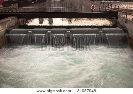 Canal locks and waterfall downtown Luzern Switzerland