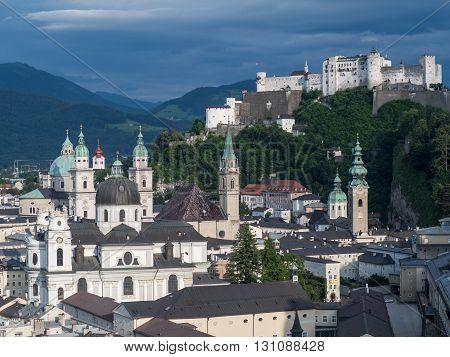 SALZBURG AUSTRIA JUNE 27: A view of hill fort Hohensalzburg Salzburg 2015