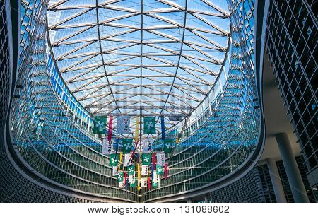 Milan Italy - February 8 2015: detail of the covered square of Palazzo Lombardia