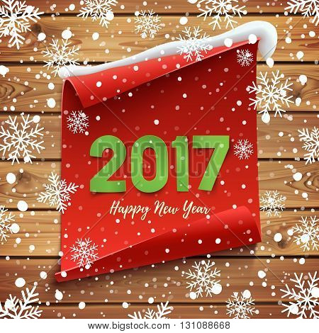 Happy New Year 2017. Red, curved, paper banner on winter background with snow and snowflakes. Vector illustration.