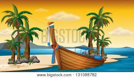 Wooden boat on the shore illustration
