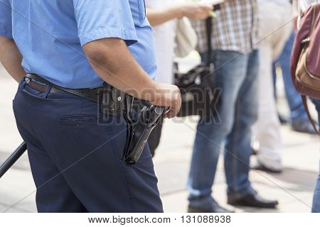 Policeman on duty, taking care of citizens' security