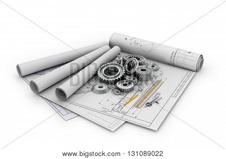 A set of gears and bearings lying on posters with blueprints.3d illustration