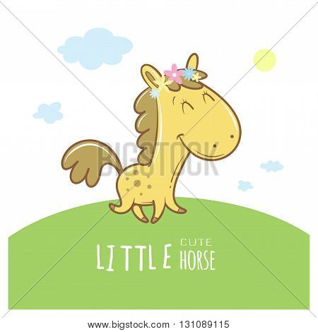 Summer card with cute cartoon  horse in wreath of flowers. Funny animal. Children's illustration. Vector image.