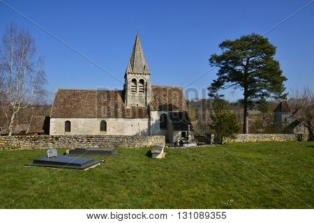 Reilly France - august march 14 2016 : the Saint Aubin church in winter