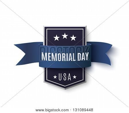 Memorial Day background template. Badge with blue ribbon isolated on white. Vector illustration.