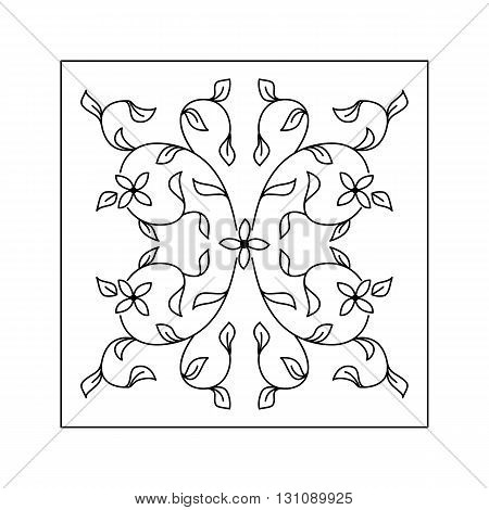 Abstract floral pattern with twigs and leaf. Decorative element.