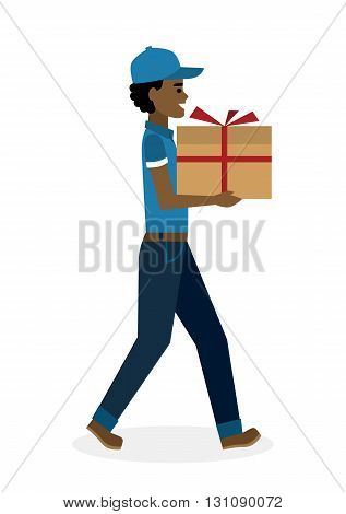Delivery man with gift. Fast transportation. Isolated african american cartoon character on white background. Postman, courier with gift, present for birthday, anniversary and more.