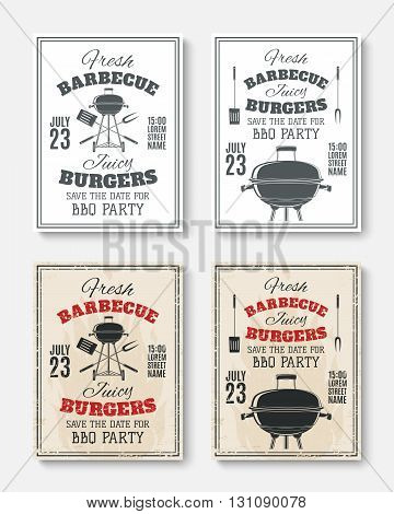 Set of four vintage barbecue party poster templates. Barbecue party brochures. Barbecue party invitation flyers. Vector illustration.