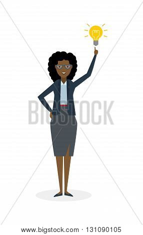 Businesswoman with idea bulb white background. Isolated character. African american businesswoman pointing at idea bulb. Concept of successful job.