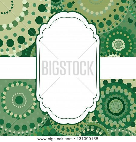 Patterned frame background invitation circular ornament blue. painted multi-colored green circles. An invitation to holidays and celebrations
