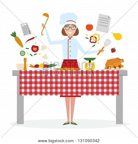 Female chef cooking on white background. Restaurant worker preparing food. Chef uniform and hat. Table and cafe equipment.
