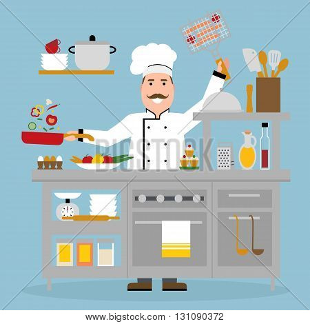 Male chef cooking on blue background. Restaurant worker frying vegetables and holding bbq. Chef uniform and hat. Table and cafe equipment.